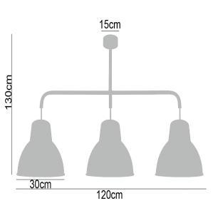 Luminária lustre para mesa grande 130x30x120 metal preto