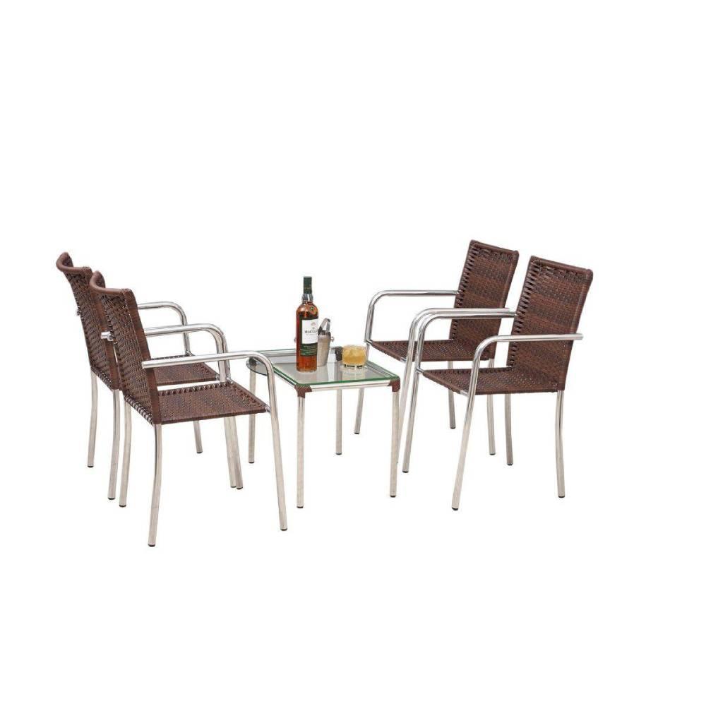 Conjunto de Mesa Flora CJMC122315 com 4 Cadeiras - Castanho - ALEGRO