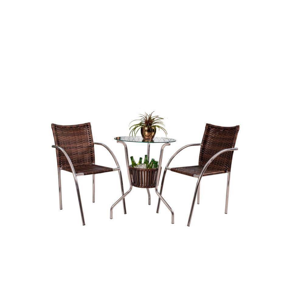 Conjunto De Mesa Cjmb4101532 C/ 2 Cadeiras - Castanho - Alegro