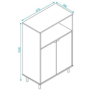 Balcão Multiuso Tubular 2 Portas (Bmu 37-226) - Brv Móveis
