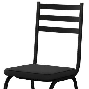 Jogo de Mesa C/ 6 Cadeiras Malva 118 Preto - Artefamol