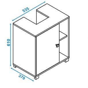Balcão Para Banheiro 1 Porta Branco (Bbn 01-06) - Brv Móveis