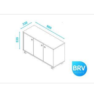 Armário 3 Portas E Rodízios Branco (Bho 25-06) - Brv Móveis