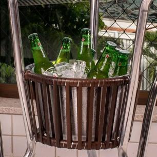 Mesa Bar Alegro Mb401 Em Alumínio Com Tampo De Vidro