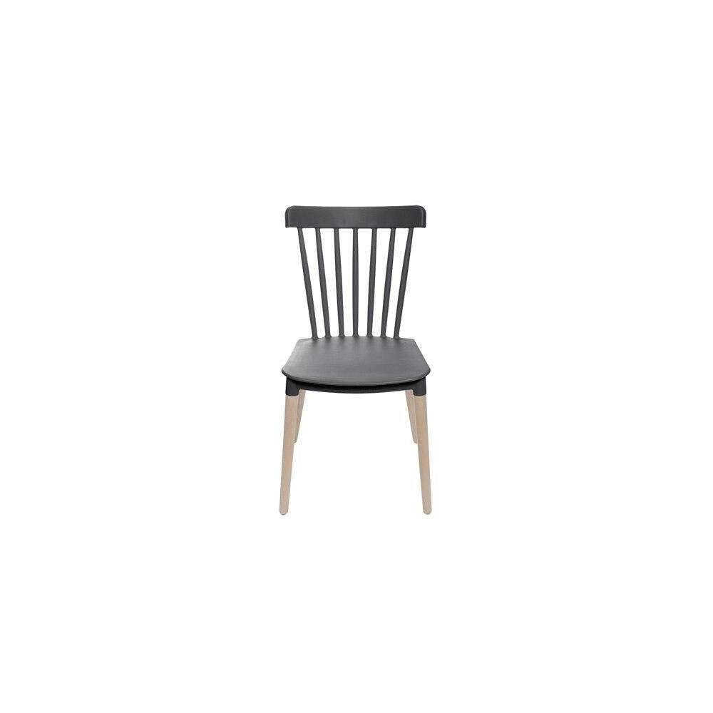 Cadeira Midi Pp Preta Base Madeira