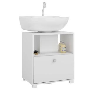 Balcão Para Banheiro 1 Porta Branco (Bbn 02-06) - Brv Móveis