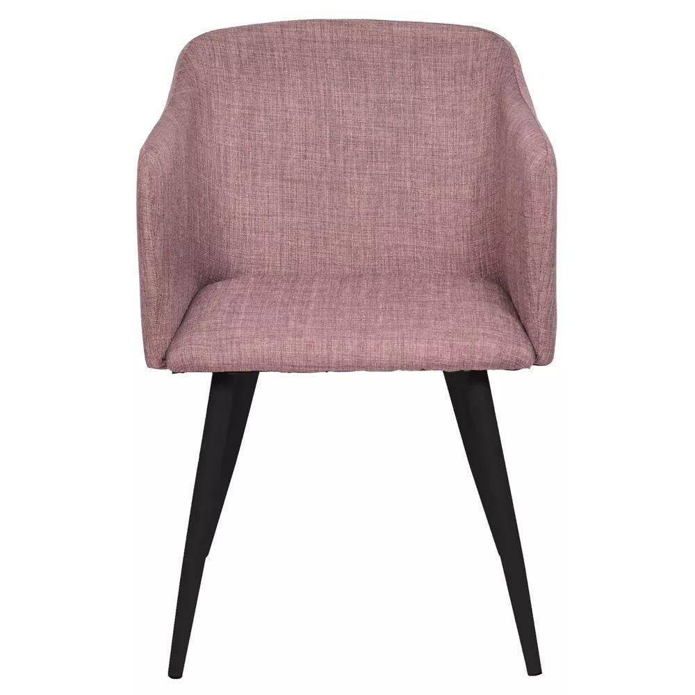 Cadeira Charla Linho Marrom Base Metal Cor Preta