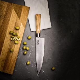 Faca De Chef Böker Damast 21Cm Cabo Em Madeira De Oliveira Mediterrânea E Lâmina Aço Damasco