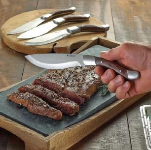 Set De 4 Facas Para Carne / Churrasco Legnoart Angus Com Cabo Em Madeira Escura