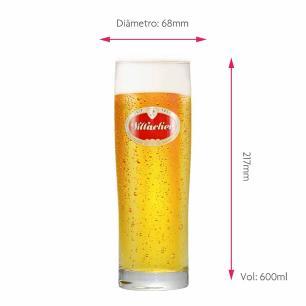 Jogo de Copos de Cerveja Rótulo Frases Villacher Vidro 600ml