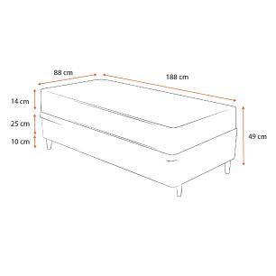 Cama Box Solteiro Cinza + Colchão de Espuma D23 - Ortobom - Light - 88x188x49cm