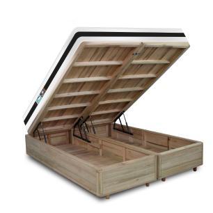 Cama Box com Baú Super King Rústica + Colchão De Espuma D45 - Castor - Black White Double Face 193x203x69cm