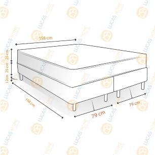 Cama Box Queen Rústica + Colchão De Molas - Castor - Class Tecnopedic One Face 158x198x62cm
