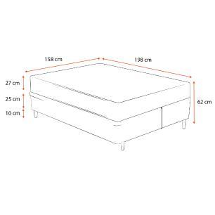Cama Box Queen Cinza + Colchão De Espuma D45 - Castor - Black White Double Face - 158x198x62cm