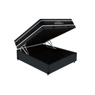 Cama Box Baú Casal Cinza + Colchão De Molas Ensacadas - Ortobom - Elegant SuperPocket - 138x188x70cm