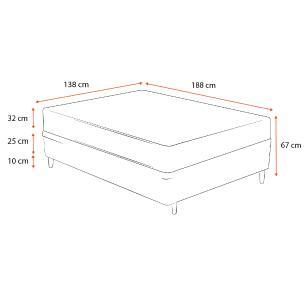 Cama Box Casal Cinza + Colchão de Molas Ensacadas - Plumatex - Madri - 138x188x67cm