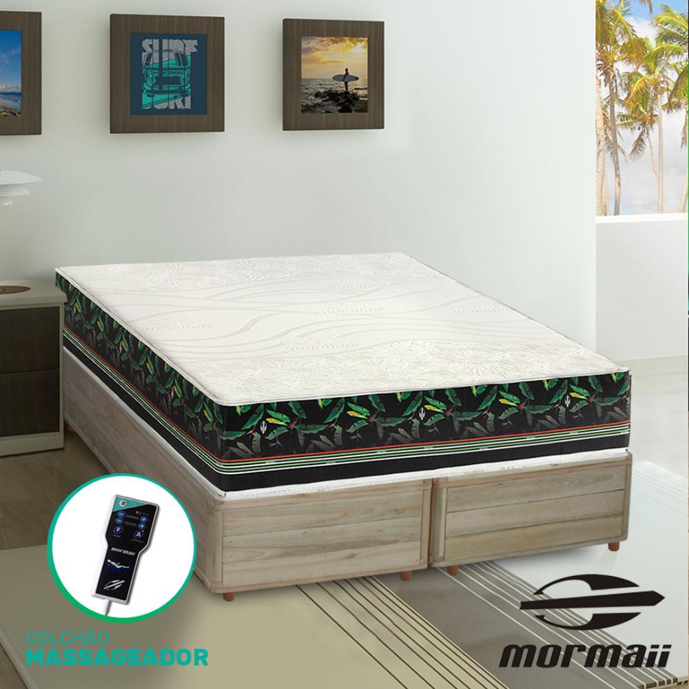 Cama Box Queen Rústica + Colchão Massageador - Mormaii - Smartzone Bananal 158x198x67cm