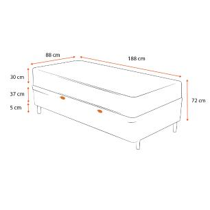 Cama Box Baú Solteiro Preta + Colchão de Molas Superlastic - Plumatex - Valencia - 88x188x72cm