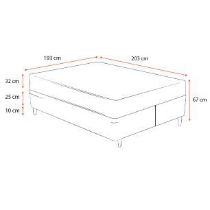 Cama Box Super King Cinza + Colchão De Molas Ensacadas - Ortobom - Freedom - 193x203x67cm
