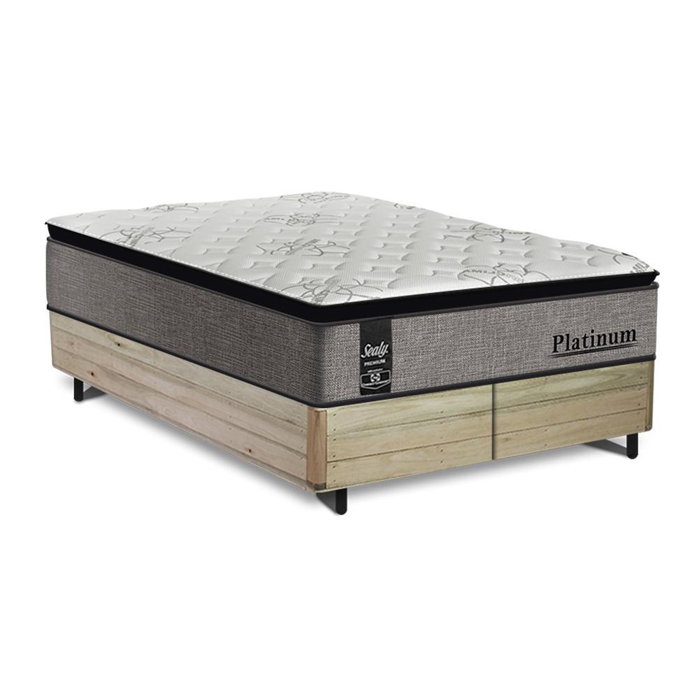 Cama Box Super King Rústica + Colchão de Molas Ensacadas - Sealy - Platinum - 193x203x69cm