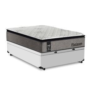 Cama Box Baú Casal Branca + Colchão de Molas Ensacadas - Sealy - Platinum - 138x188x74cm