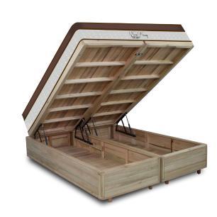 Cama Box com Baú Super King Rústica + Colchão Massageador c/ Infravermelho - Anjos - New King 193x203x72cm