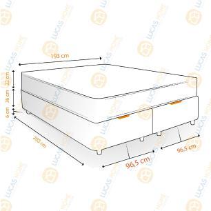 Cama Box com Baú Super King Rústica + Colchão De Molas Ensacadas Com Pillow Top - Ortobom - Freedom 193x203x74cm