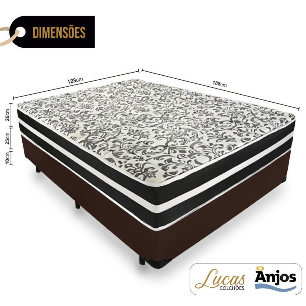 Cama Box Viúva + Colchão De Molas - Anjos - Black Graphite 128x188x61cm