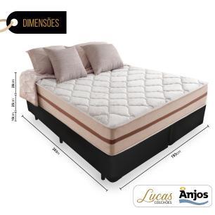 Cama Box Super King Preta + Colchão De Molas Ensacadas - Anjos - Classic - 193x203x61cm