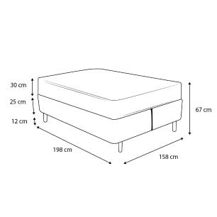 Cama Box Queen Rústica + Colchão de Molas Superlastic - Plumatex - Valencia - 158x198x67cm