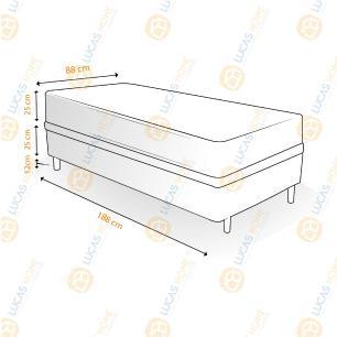 Cama Box Solteiro Rústica + Colchão De Molas Ensacadas - Ortobom - ISO SuperPocket 88x188x62cm