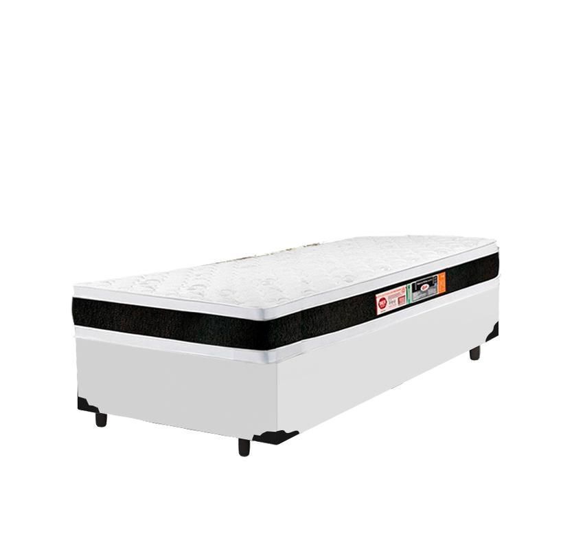 Cama Box Solteiro King + Colchão De Espuma D45 - Castor - Black White Double Face - 96x203x62cm