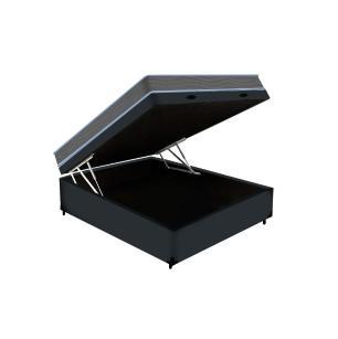 Cama Box Baú Casal Cinza + Colchão De Espuma D33 - Ortobom - Light - 138x188x59cm
