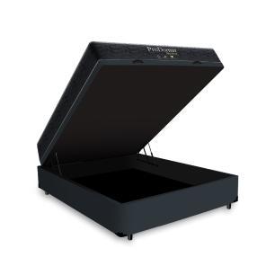 Cama Box Baú Viúva Cinza + Colchão De Molas - Probel - Prodormir Sleep Black 128x188x64cm