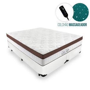 Cama Box Queen + Colchão Massageador c/ Infravermelho - Anjos  - New King - 158x198x65cm