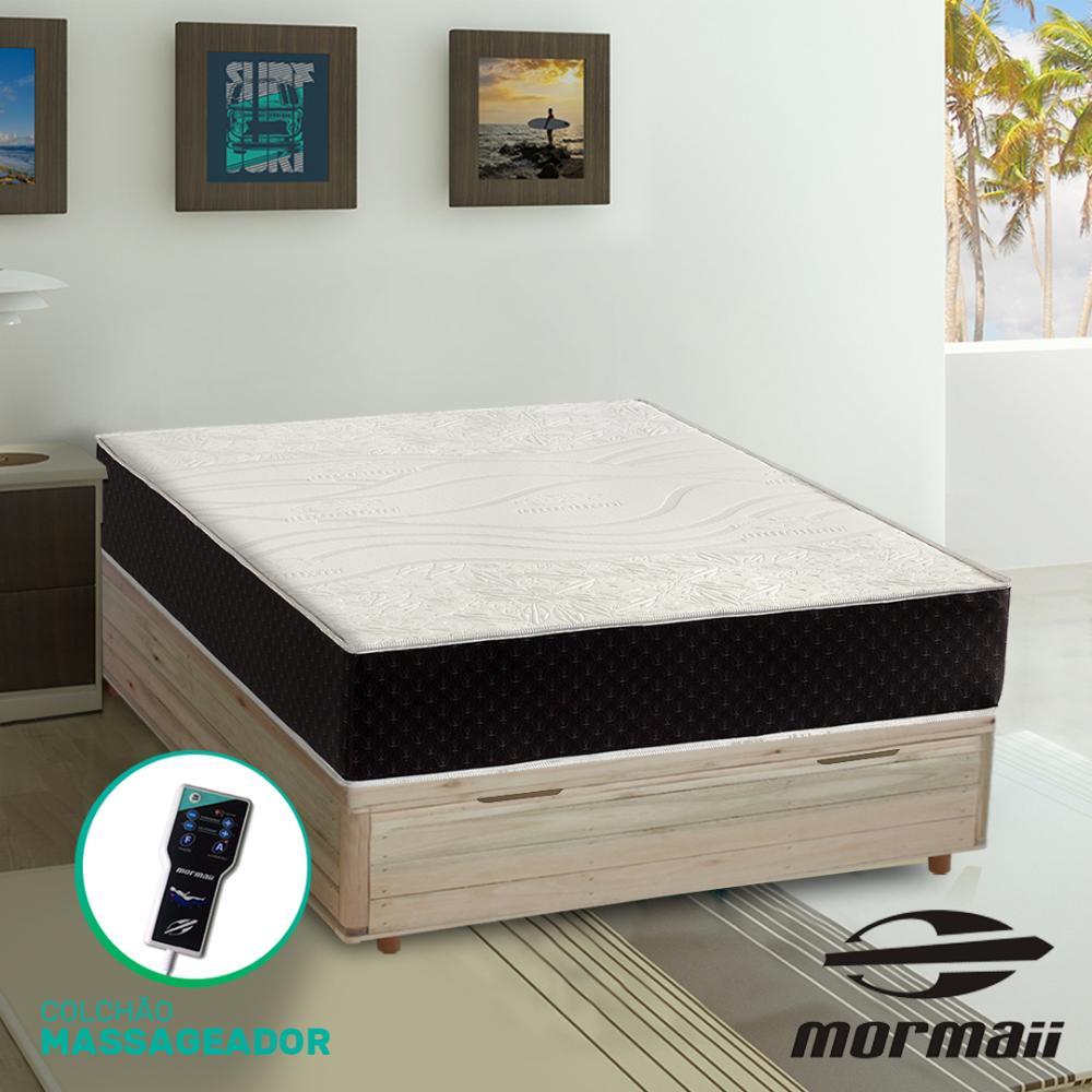 Cama Box com Báu Casal Rústica + Colchão Massageador - Mormaii - Smartzone  Lotus 138x188x72cm