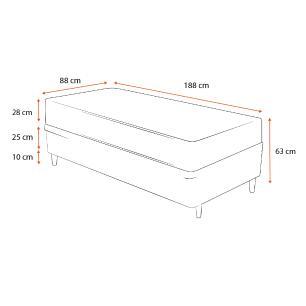 Cama Box Solteiro Marrom + Colchão de Molas Ensacadas - Plumatex - Barcelona - 88x188x63cm