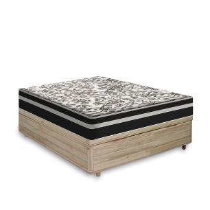 Cama Box com Baú Casal Rústica + Colchão De Molas - Anjos - Black Graphite 138x188x68cm