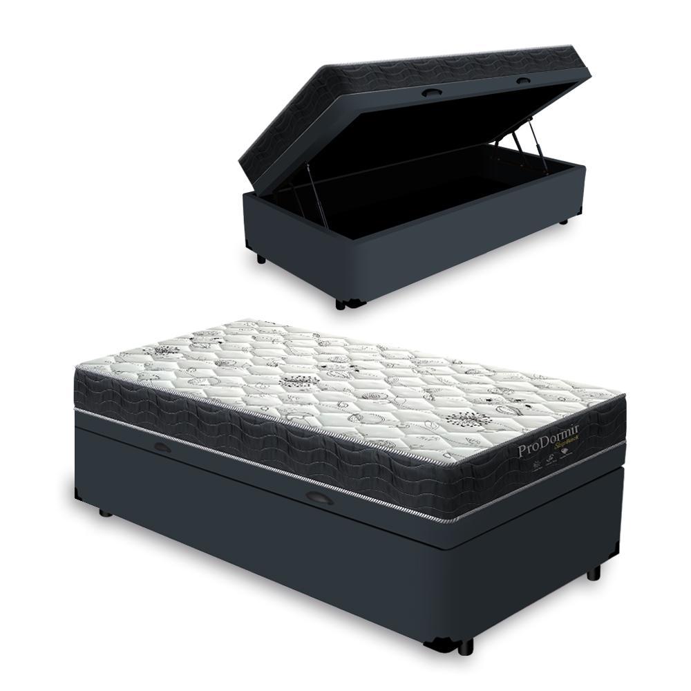 Cama Box Baú Solteiro Cinza + Colchão De Molas - Probel - Sleep Black 88x188x64cm