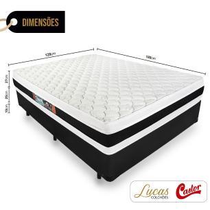 Cama Box Viúva + Colchão De Espuma D45 - Castor - Black White Double Face - 128x188x62cm