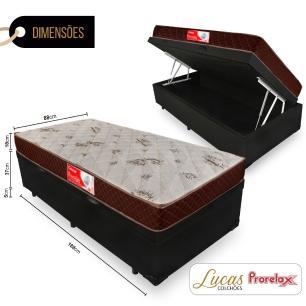 Cama Box Com Baú Solteiro + Colchão De Molas - Prorelax - Cristal 88x188x60cm