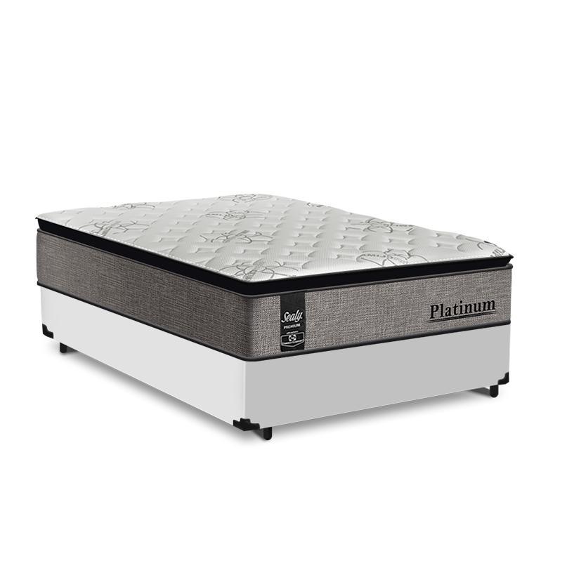 Cama Box Casal Branca + Colchão de Molas Ensacadas - Sealy - Platinum - 138x188x67cm