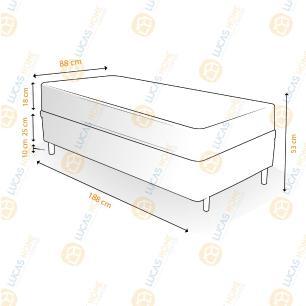 Cama Box Solteiro + Colchão De Espuma D33 - Castor - Sleep Max 88x188x53cm