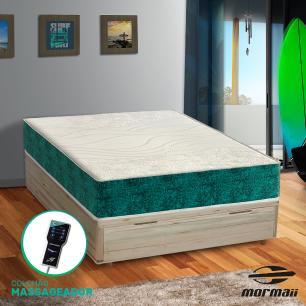 Cama Box com Báu Casal Rústica + Colchão Massageador - Mormaii - Smartzone Rupestre 138x188x72cm