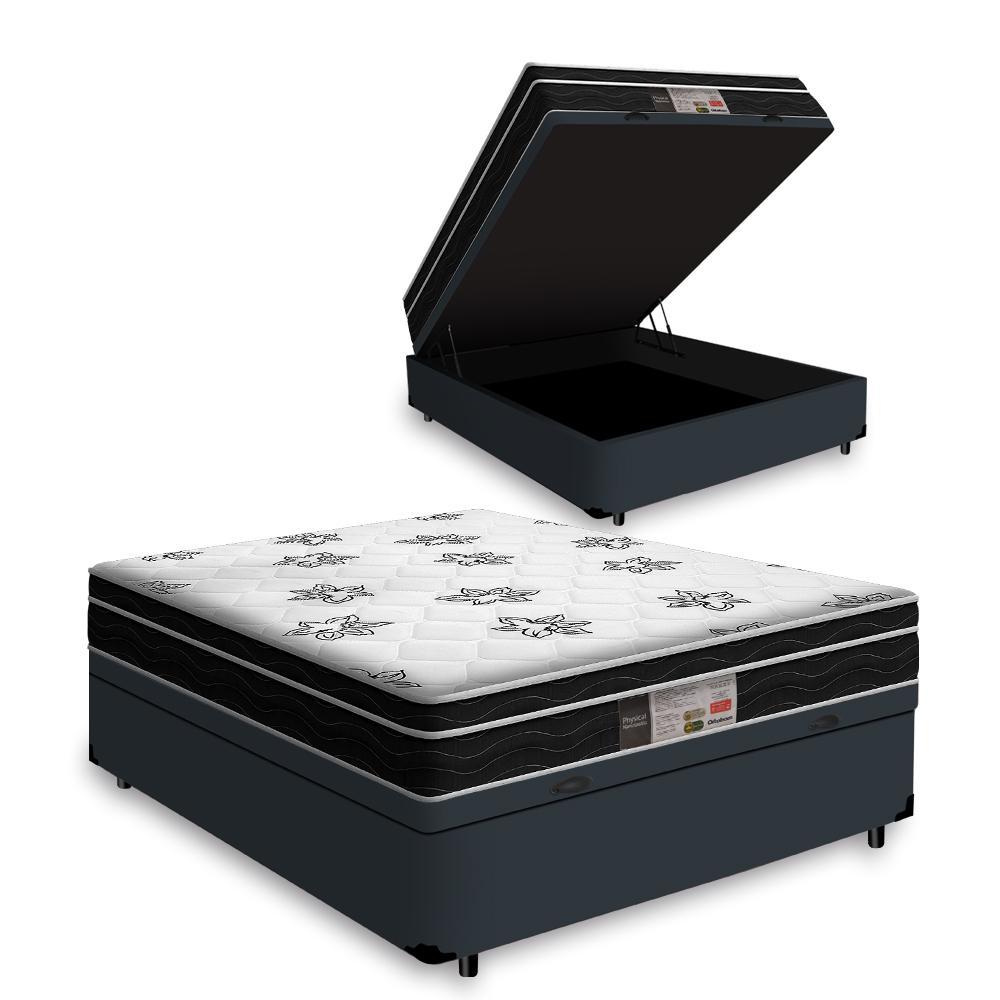 Cama Box Baú Casal Cinza + Colchão De Molas Ensacadas - Ortobom - Physical Nanolastic - 138x188x65cm