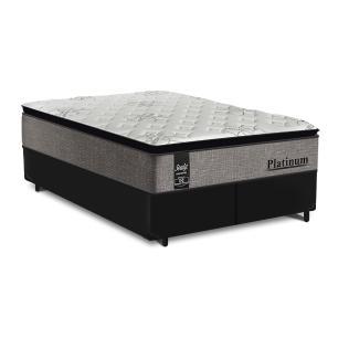 Cama Box Super King Preta + Colchão de Molas Ensacadas - Sealy - Platinum - 193x203x67cm