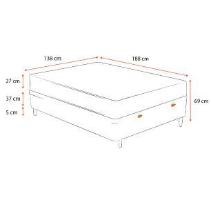 Cama Box Baú Casal Cinza + Colchão Espuma D45 - Castor - Black White Double Face 138x188x69cm