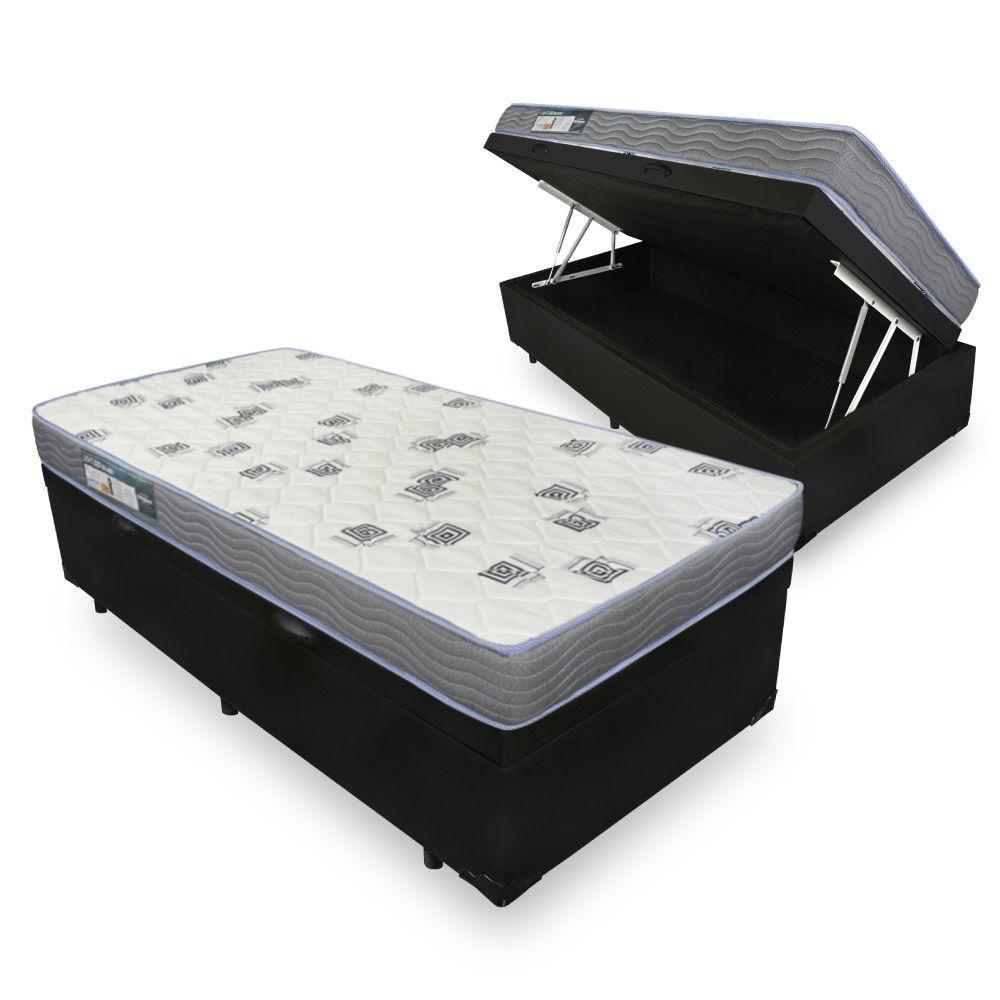 Cama Box Com Baú Solteiro + Colchão De Espuma D33 - Ortobom - Light - 88x188x56cm