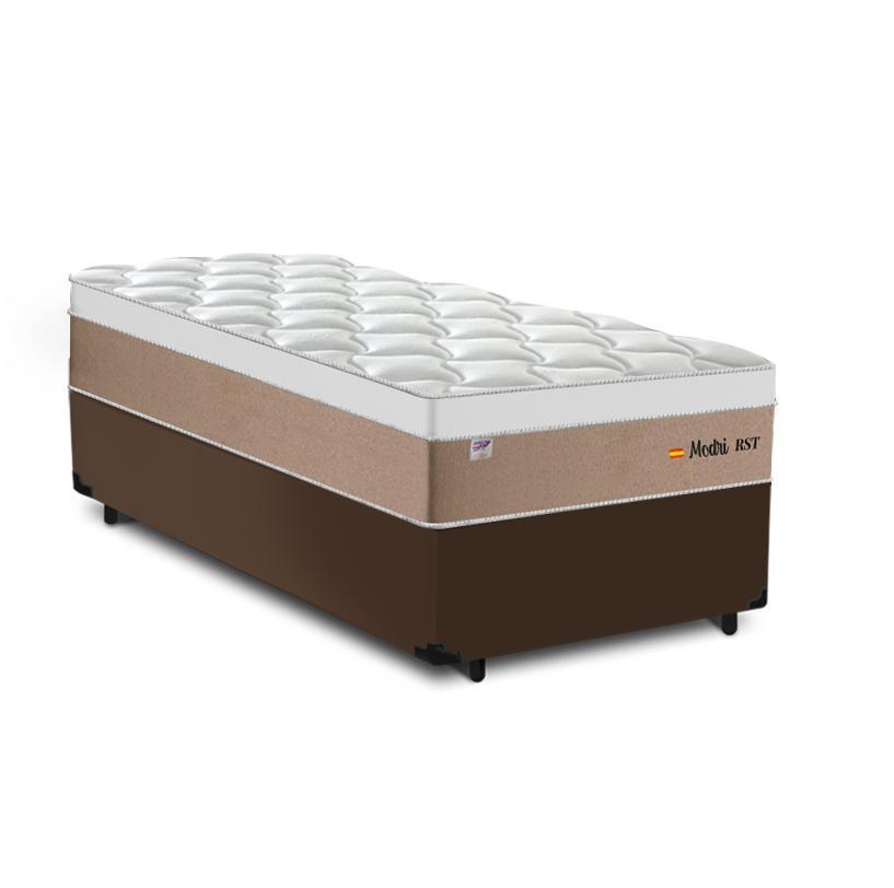 Cama Box Solteiro Marrom + Colchão de Molas Ensacadas - Plumatex - Madri - 88x188x67cm