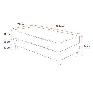 Cama Box Solteiro + Colchão de Espuma D23 - Ortobom - Light 78x188x49cm